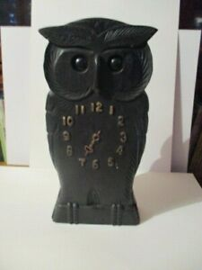 Antique Black Forest Novelty Clock, Hand Carved Owl, Eyes Move, Working