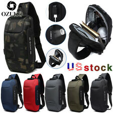OZUKO Mens Shoulder Chest Bag Anti-theft Lock With USB Oxford Travel Backpack