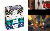 Happy Socks Men Women Stripe Dot Fun Pattern Dress Socks Gift Box 4 Pairs 10-13