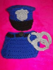 Newborn, Crochet, Policeman Hat, Diaper Cover and Handcuff Set