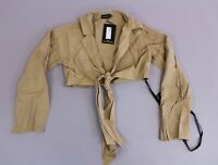 Pretty Little Thing Women's Stone Tie Front Blouse ML3 Tan Size US:8 UK:12 NWT