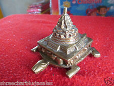Rare Indian Feng Shui Brass Longevity Lucky Wealth Turtle Tortoise Shree Yantra
