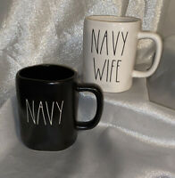 "NEW Rae Dunn USA Military LL Black ""NAVY"" & Ivory ""NAVY WIFE"" Mug Set by Magenta"