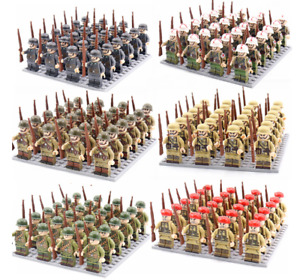 WW2 MINIFIGURES lego MOC Military Figures Set Soldiers Guns Weapons Army Bricks