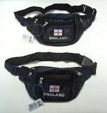 """2 x NEW BUM BAGS HIP BAGS WITH """"ENGLAND"""" THREADED LOGO TRAVEL CAMPING DRIVING"""