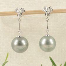 14k White Gold Genuine Diamonds & Silver Tone Tahitian Pearl Dangle Earrings TPJ