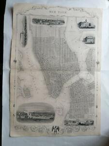 New York map 1850s Tallis Rapkin 52.6 x 36.7 cm V RARE