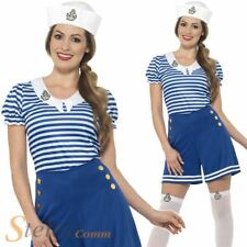 Ladies Sailor Girl Costume Adult Navy Fancy Dress Womens Hen Party Outfit