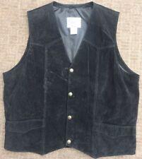 CRIPPLE CREEK Men's Black Genuine Suede Leather Western Cowboy Vest 2XL