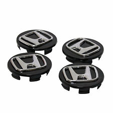 4x69mm HONDA ALLOY WHEEL CENTRE HUB CAPS BLACK / ACCORD CRV CIVIC TYPE R