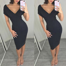 Women's Sexy V-Neck Batwing Sleeve Bodycon Dress Black Beige Party Evening