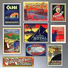 Vintage luggage labels aimants de réfrigérateur lot de 9 repro art déco réfrigérateur aimants