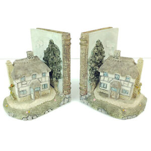 HEAVY CERAMIC ELEGANT HAND PAINTED COUNTRYSIDE COTTAGE BOOK SHELF ENDS HOLDERS