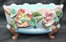 Antique Signed Majolica French Impressionist Barbotine Jardiniere Sea Horse Legs