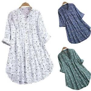 Damen Blumen Lange Hemden Tunika Shirt Tops Hemdkleid Lose Freizeit Longbluse