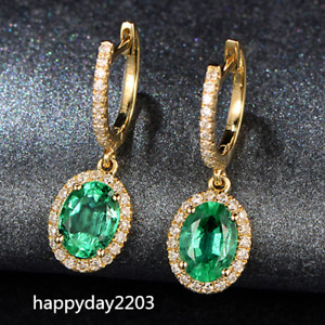 Solid 14K Yellow Gold 1.86CT Natural Oval Green Emerald Diamond Dangle Earrings