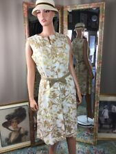 Vintage Young Naturals Size 14 Dress Patton Leather Bow Belt Beige And White