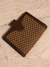 Franklin Covey Billfold Wallet Size Memo Pad Holder Woven Leather Dark Tan