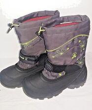 Kamik SnowJump2 Girls Kids Winter Snow Boots Charcoal Gray Green Flowers Size 2