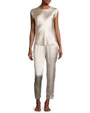 New Womens Designer Josie Natori Silk Top XS NWT Champagne Beige Cap Sleeves
