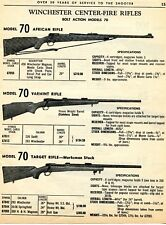 1964 Print Ad of Winchester Center Fire Model 70 African Varmint & Target Rifle