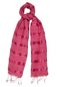 Pink Scarf Silk and Linen Stripe - Fair Trade BNWT 180cm x 80cm
