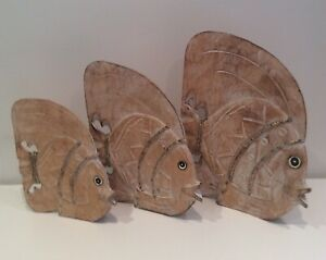 BALINESE HAND CARVED TIMBER FISH SET OF 3