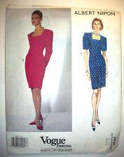 Vogue Designer Albert Nippon lined fitted dress unused pattern 2835 sz 8 10 12