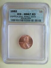 1982 Lincoln Cent Penny - VERY HIGH Grade by ICG MS 67 RD (Red) Zinc RARE!