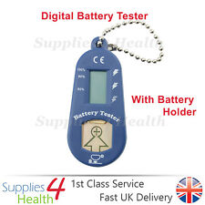 BLUE Digital Hearing Aid Battery Tester With LCD Display & Spare Battery Holder