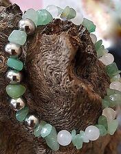 Sterling Silver Ball MILKY QUARTZ  Brazilian Aventurine  Beaded Bracelet Men
