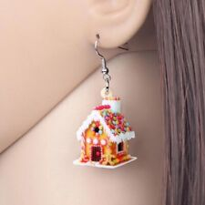 Festive Christmas Gingerbread Cookie House Earrings- New W/ Tags Great Gift