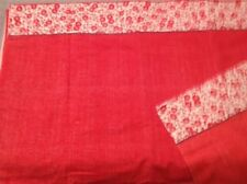 VINTAGE RED WITH WHITE DAISY TRIM  FLAT TWIN SHEET AND PILLOWCASE CRAFT FABRIC