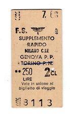 BIGLIETTO TICKET EDMONSON SUPPL. RAPIDO  MILANO CL. GENOVA  7-6-1959