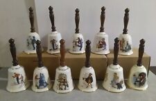 Norman Rockwell Gorham Christmas Bells Lot of 11 Vintage Collectible 1976-1986