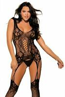 Shirley of Hollywood BLACK Fishnet Garter Bodystocking, US One Size Fits Most