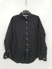 Tommy Hilfiger Mens Size Large Black Long Sleeve Button Up With Logo Dress Shirt