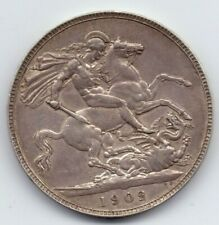 1902 LXI King Edward VII Silver Crown Coin George and the Dragon