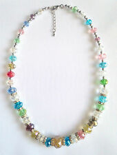 Stunning Handmade Multi-coloured Crystals & Clear Rondelle Spacers Necklace