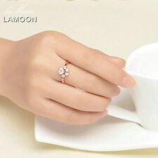 Lamoon Animal Paw Natural Pink Rose Quartz Ring 100 S925 Silver Ri027 VC
