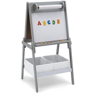 Delta Children Activity Easel with Storage, Gray - New