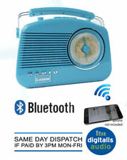 Portable Radio Blue Steepletone Bluetooth Brighton 1950 Retro Style 3 Band