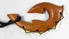 Hawaiian Wood Shark Tooth Teeth Fish Hook Necklace with Tiger Shark Teeth