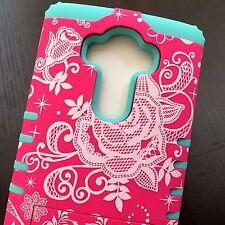 For LG G4 - HARD&SOFT RUBBER HYBRID ARMOR SKIN CASE COVER PINK FLOWER MINT BLUE