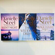3 x Danielle Steel Large Paperback Silent Night, The Wedding Dress, Beauchamp