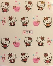 Nail Art Glitter Water Decals Hello Kitty Easter Basket #210