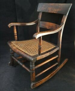 """Scarce Antique American Federal Maple Childs Rocker w/Caned Seat. 21"""" x 14 3/8"""""""