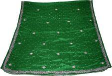 Indian Vintage Dupatta Embroidered Silk Green Long Stole Antique Thread/Sequins