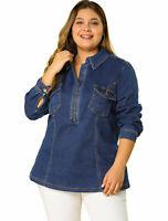 Agnes Orinda Women's Plus Size Zip Up Denim Jacket with Pockets
