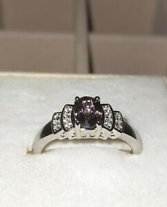 925 Sterling Silver Purple Spinel And Cambodian Zircon, UK Ring Size O